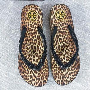 a1d0cc2c4af6 Tory Burch Shoes - Tory Burch Leopard Wedge Flip Flops Sandals 9 Gems